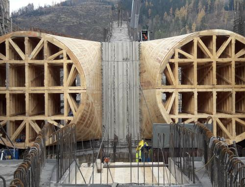 hydro power station Murinsel Bruck / Mur, inlet formwork and formwork for draft tube – Austria